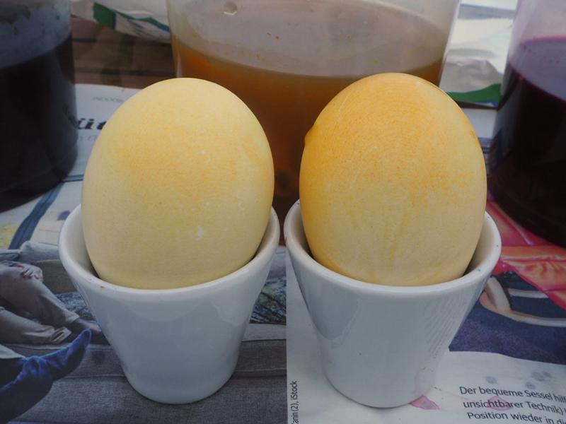 zwei gelb gefärbte Eier mit sanftem Farbverlauf