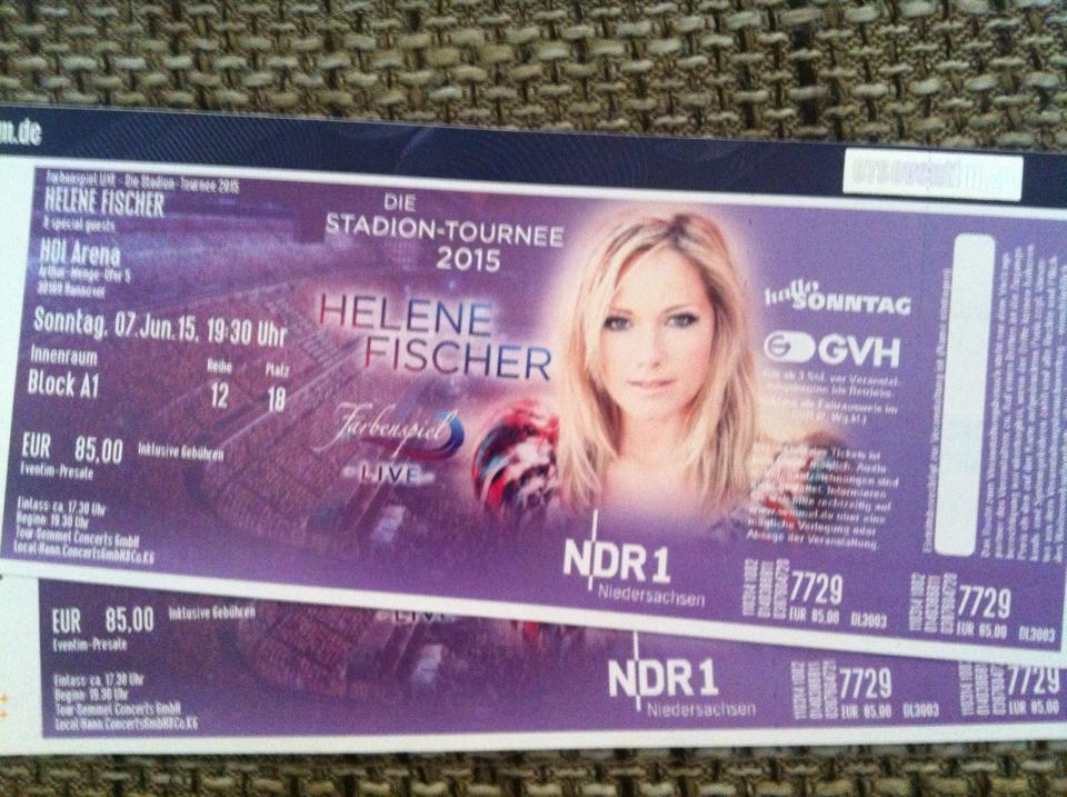 Karte Für Helene Fischer In Hannover übrig Tobias Thilo