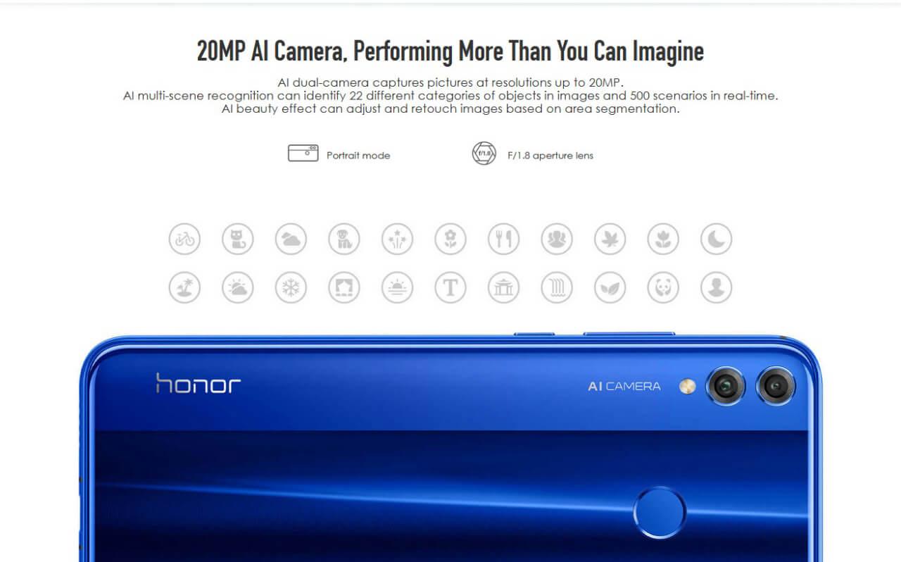 Honor 8X 20MP + 16MP Dual Lens Camera Smartphone Online
