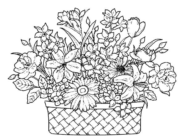 basket of flowers full of beautiful flowers coloring pages best