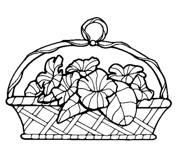 basket of flowers basket of flowers coloring pages