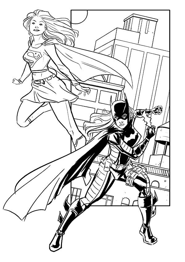 batgirl and supergirl working together coloring pages best place
