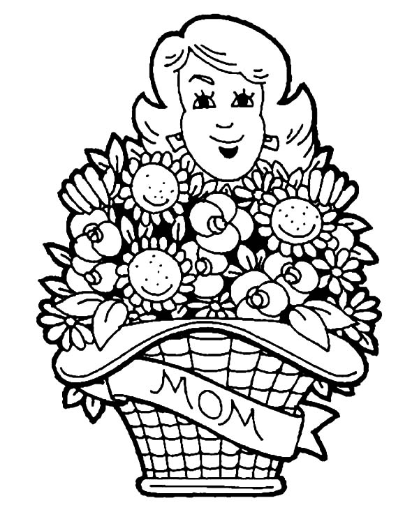 of flowers coloring pages mothers day basket of flowers coloring