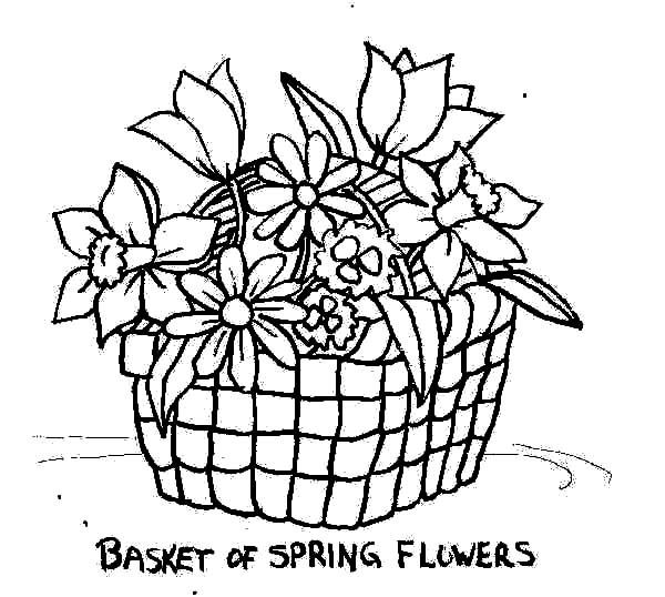 of flowers put spring flowers in basket of flowers coloring pages