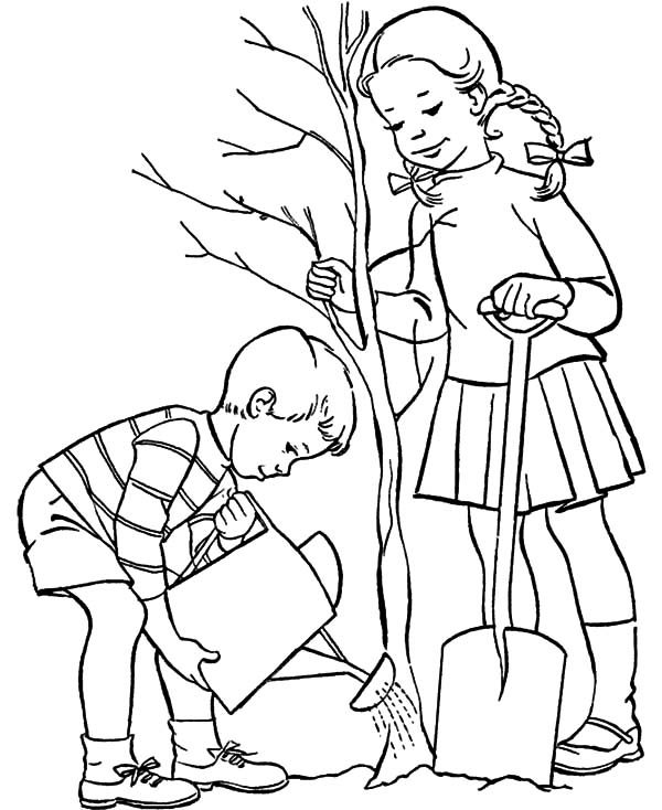brother and sister grow a tree on arbor day coloring pages best