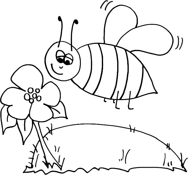 coloring pages bumble bee sniffing flower coloring pages best