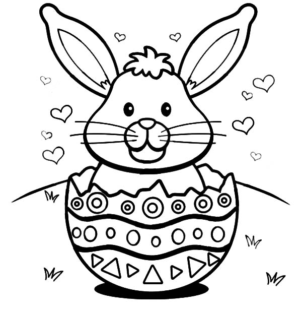 easter bunny with hearts in a broken egg shell coloring pages easter