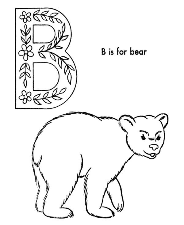 alphabet b is for bear on letter b coloring page best place to color