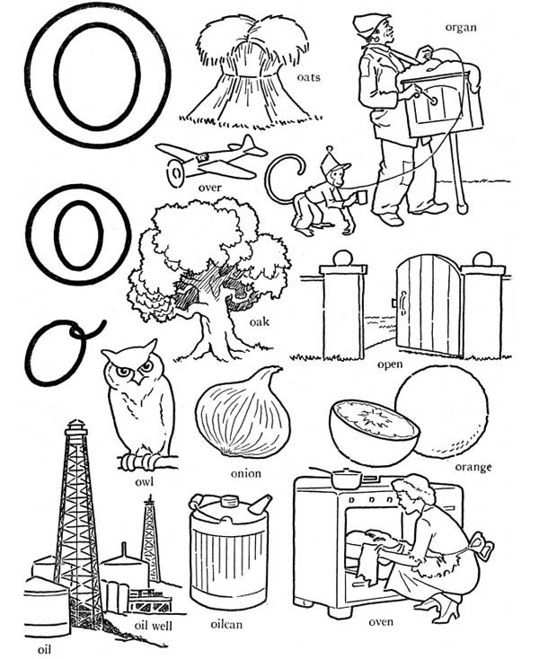 alphabet letter o words coloring page best place to color