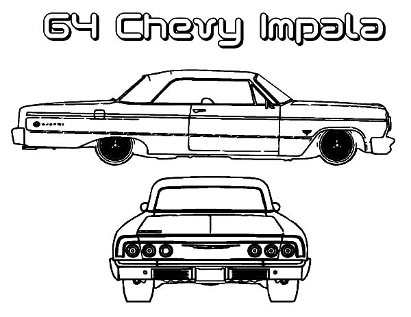 Chevy Impala Coloring Drawings Rims Pages