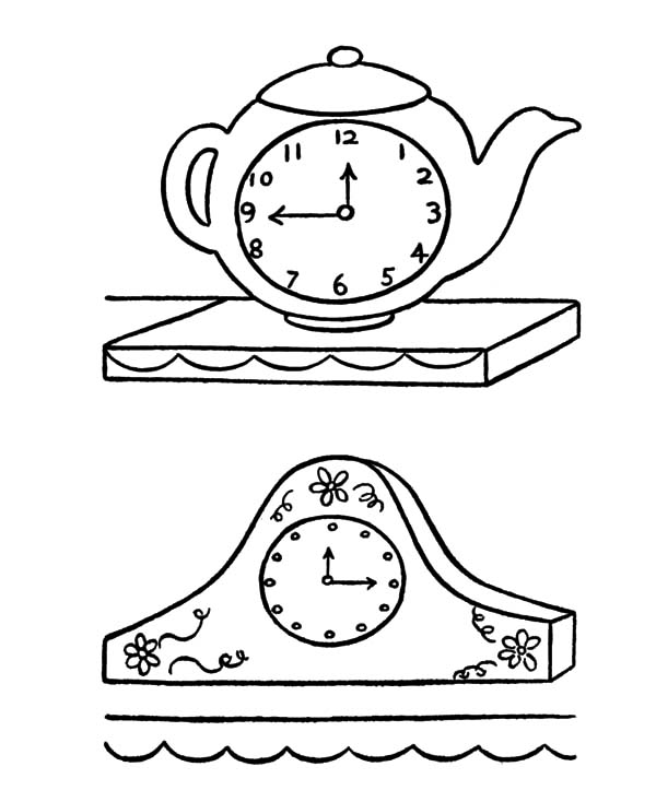Grandfather Clock Coloring Page Printable Clock Coloring Pages For
