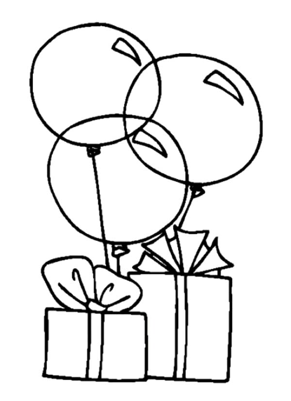 Balloons Tied To Birthday Present Coloring Pages Best Place To Color