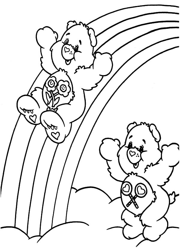 care care bears sliding at the of rainbow coloring pages care bears