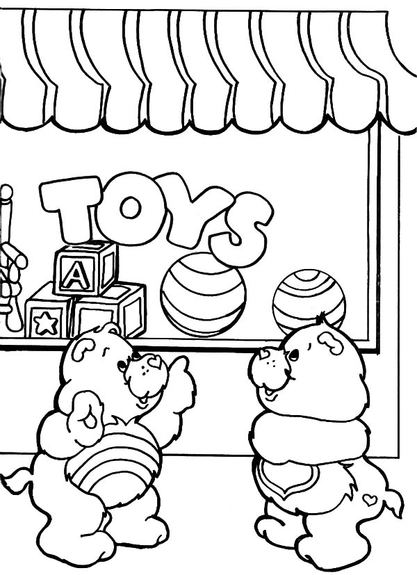 care bears playing with friends at rainbow coloring pages best place