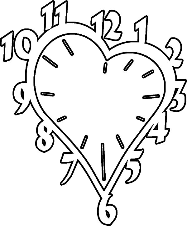 valentines heart shaped clock coloring pages valentines heart