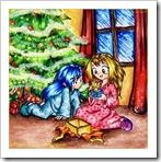 Abriendo los regalos de Navidad