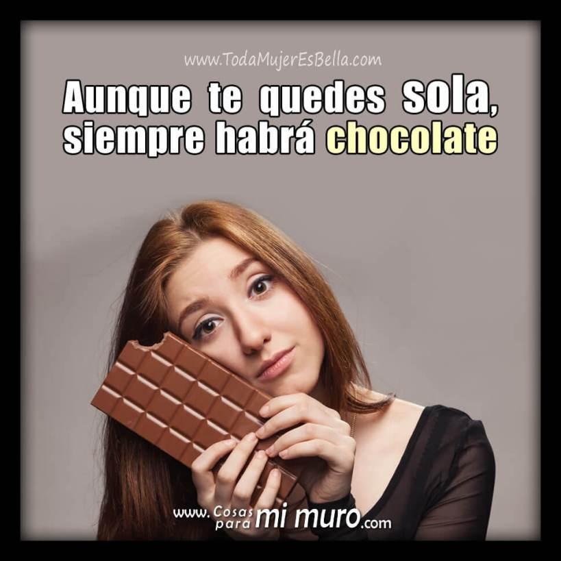 Estoy sola, pero tengo chocolate