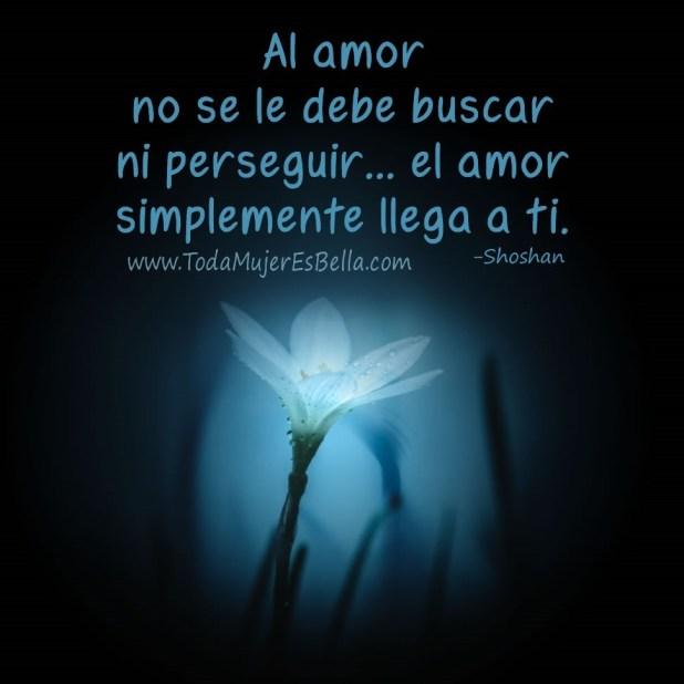 Al amor no se le debe buscar ni perseguir… el amor simplemente llega a ti.