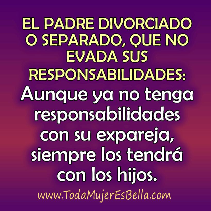 El padre divorciado o separado, que no evada sus responsabilidades: Aunque ya no los tenga con su expareja, siempre los tendrá con los hijos.