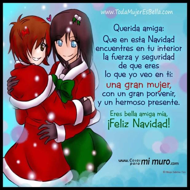 Imagen con mensaje para una amiga en Navidad
