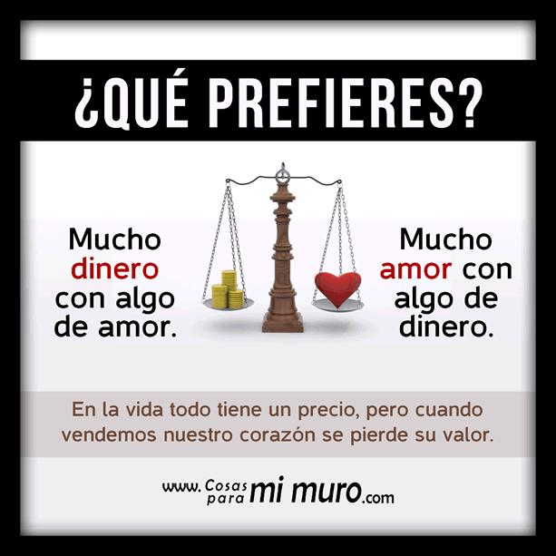 ¿Qué prefieres cuando se trata del amor y el dinero?