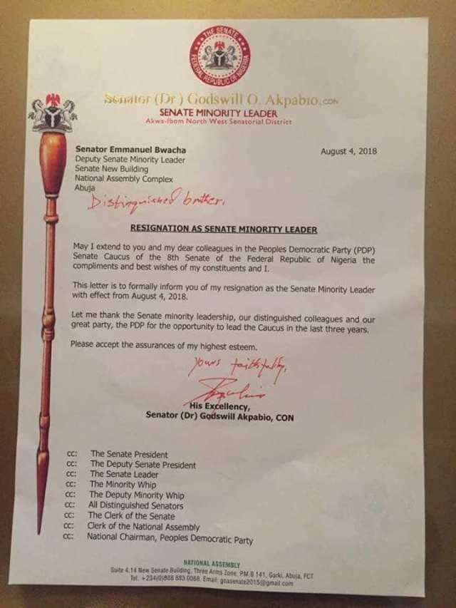 Senator representing Akwa Ibom North West Senatorial District, Senator Godswill Akpabio has resigned as the Minority Leader of the 8th Senate of the Federal Republic of Nigeria.