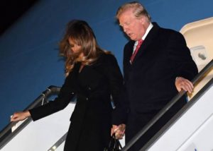 US President Donald Trump (R) and US First Lady Melania Trump arrive at Orly airport, outside Paris on November 9, 2018, ahead of commemorations marking the 100th anniversary of the 11 November 1918 armistice, ending World War I. SAUL LOEB - AFP