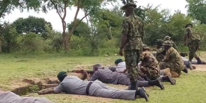 Officers of Customs during a weapons handling training at the 33 Artillery Brigade, Shadawanka Barracks Shooting Range in Bauchi. Photo by Balarabe Alkassim 3