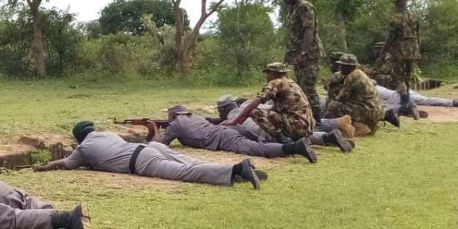 Officers of Customs during a weapons handling training at the 33 Artillery Brigade, Shadawanka Barracks Shooting Range in Bauchi. Photo by Balarabe Alkassim 5