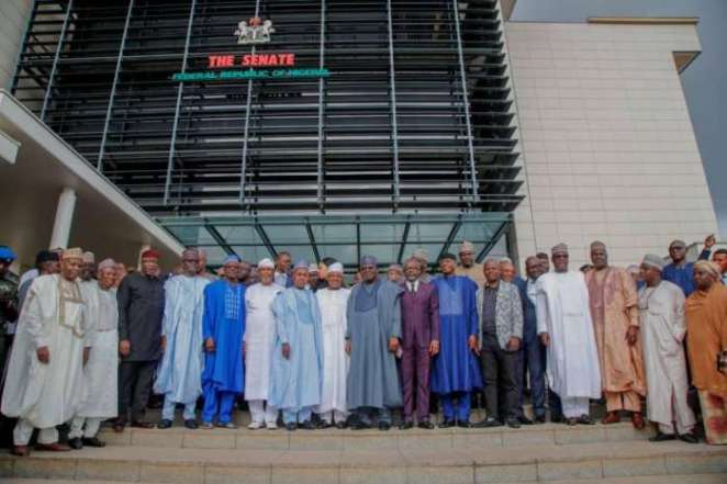 President of the Senate, Ahmad Ibrahim Lawan and the Speaker of House of Representatives, Rt (Hon.) Femi Gbajabiamila in a group photograph with the members of the Progressive Governors Forum, during the visit of the members to the National Assembly on Monday, 7th October, 2019