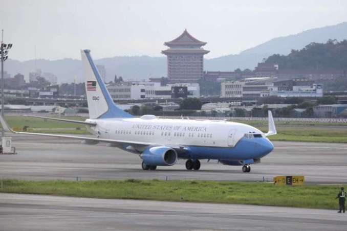 A plane carrying U.S. Health and Human Services Secretary Alex Azar lands at Taipei Songshan Airport in Taipei, Taiwan, Sunday, Aug. 9, 2020. Azar arrived in Taiwan on Sunday in the highest-level visit by an American Cabinet official since the break in formal diplomatic relations between Washington and Taipei in 1979.Chiang Ying-ying/AP