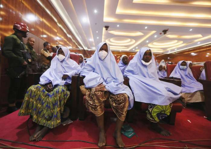 4. Girls who were kidnapped from a boarding school in the northwest Nigerian state of Zamfara, are seen after their release in Zamfara , Nigeria March 2, 2021. REUTERS-Afolabi Sotunde