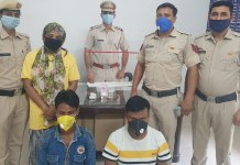 Three accused, including a woman stealing ₹ 8 lakh worth of jewelery and ₹ 120000 cash, were arrested by the Police Sector 8 police.