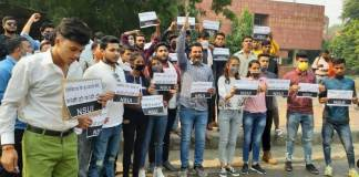 NSUI protests at Deputy Commissioner office to punish Nikita's killers