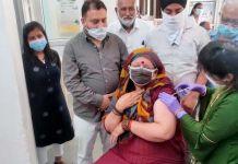 Badkhal MLA Seema Trikha gets vaccinated at BK Hospital