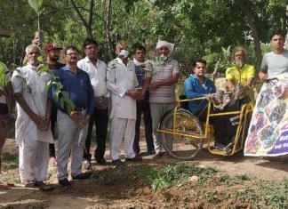 Plantation program organized by Bharti Charitable Trust at Shiv Mandir in Nangla village
