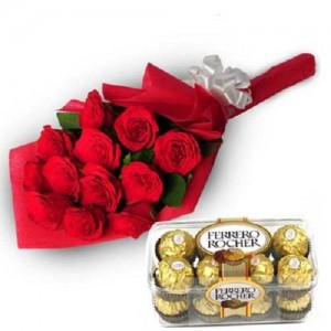 12 Red Roses Bunch With 16 Pcs Ferrero Rocher Chocolates