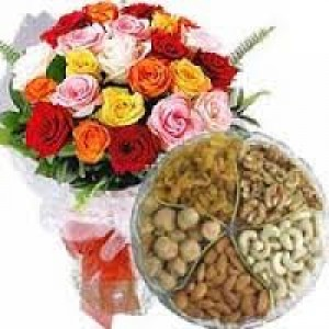 30 Mix Roses Bunch With 1 Kg Assorted Dry Fruits