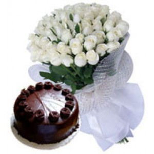 60 White Roses Bunch With 1kg Chocolate Cake