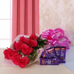 10 Red Roses With 4 Dairy Milk Chocolates
