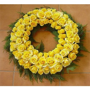 Wreath Of Beautiful Yellow Roses