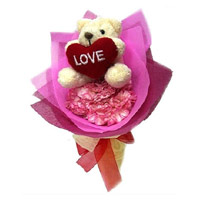 12 Pink Carnation With Small Teddy