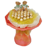 16 Pcs Ferrero Rocher Twin 6 Inch Teddy Bouquet