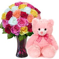 24 Mix Roses Vase 6 Inch Teddy Bear