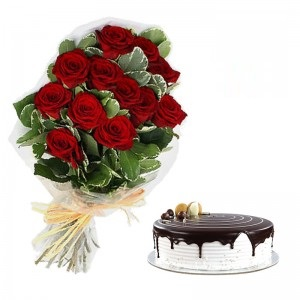 Bunch Of 10 Red Roses With 1 Pound Choco Vanilla Cake