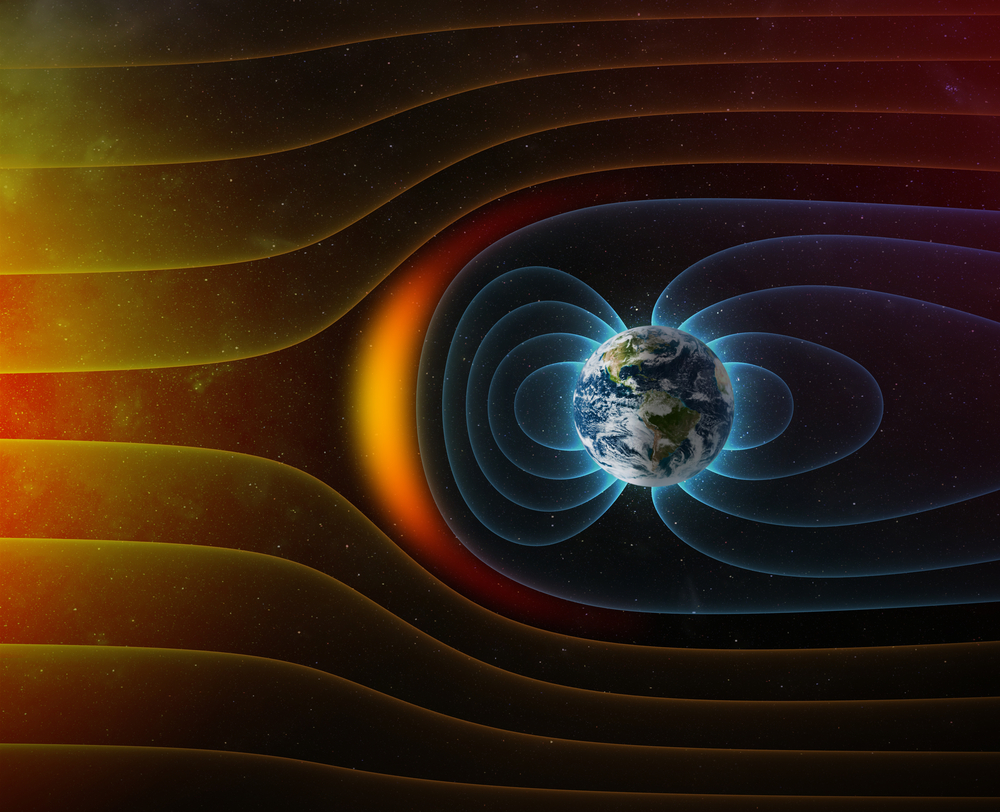 Earths magnetic field helps protect against solar and cosmic radiation.