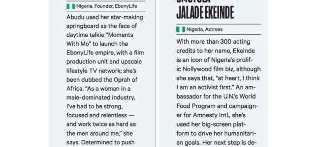 Omotola, Mo Abudu listed among 50 Global Showbiz Women