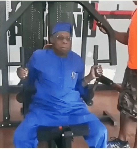 Obasanjo works out at the Gym in native wear