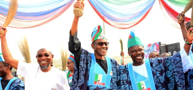 Confusion: Amosun campaigns for two parties as youths stone Buhari in Ogun