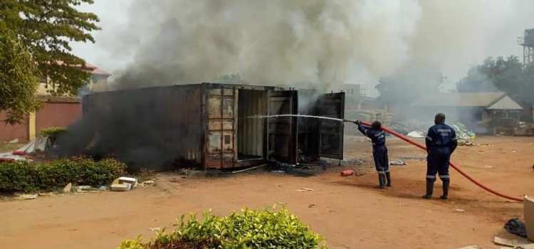 INEC card readers gutted by fire as officials flee in Anambra (Photos)
